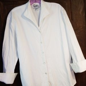 CRISP LILLY PULITZER WHT.SHIRT W/ABALONE BUTTONS